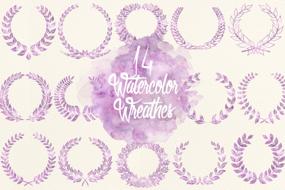 Watercolor Lavender Wreathes