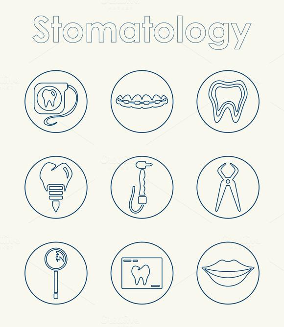 Set Of Stomatology Simple Icons