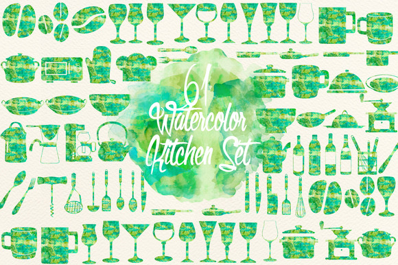 Watercolor Green Kitchen Set