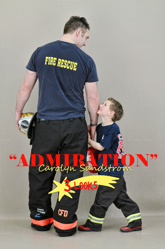 Admiration Fireman With Boy