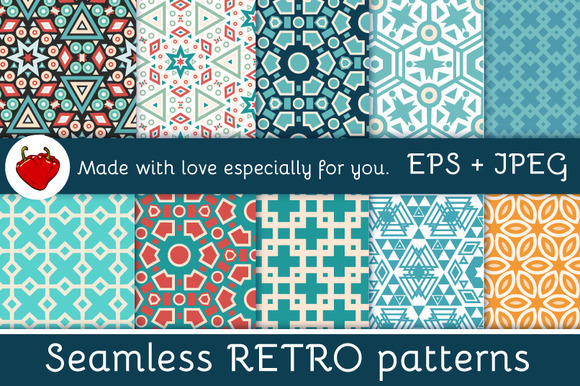Set Retro Vector Seamless Patterns