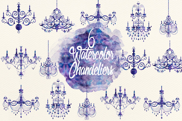 Watercolor Indigo Chandeliers