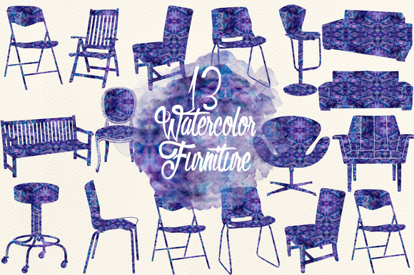 Watercolor Indigo Furniture