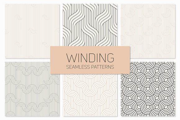 Winding Seamless Patterns Set 2