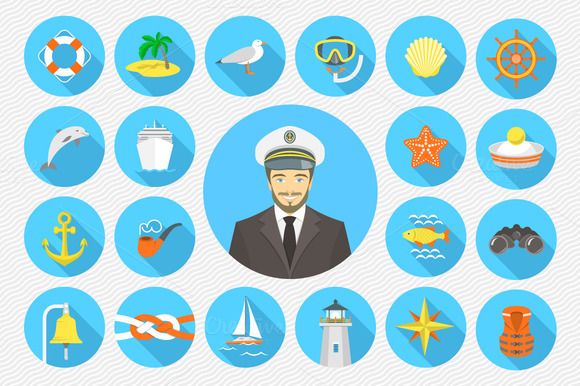 Flat Nautical Icons And Pattern