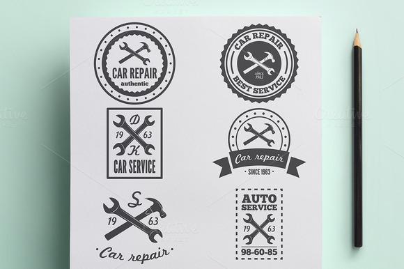 Set Of Vintage Logo For Car Service