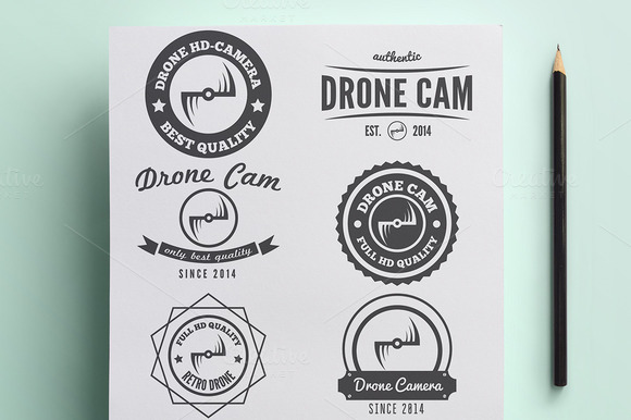 Set Of Vintage Logo For Drone Camera