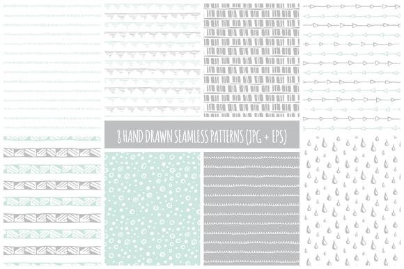 8 Hand Drawn Seamless Patterns