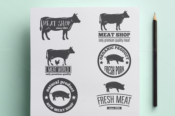 Set Of Vintage Logo For Meat Product