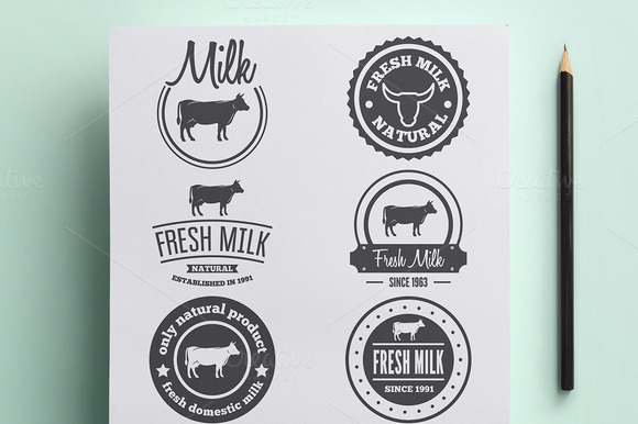 Set Of Vintage Logo For Milk