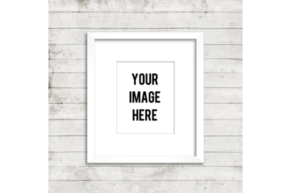 White Frame Product Mockup Wood