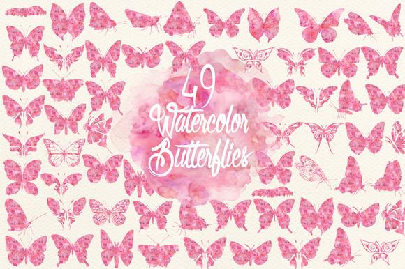 Watercolor Fuchsia Butterflies