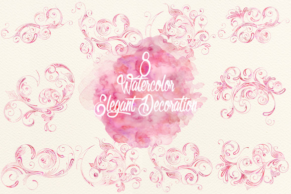 Watercolor Fuchsia Elegant Decor