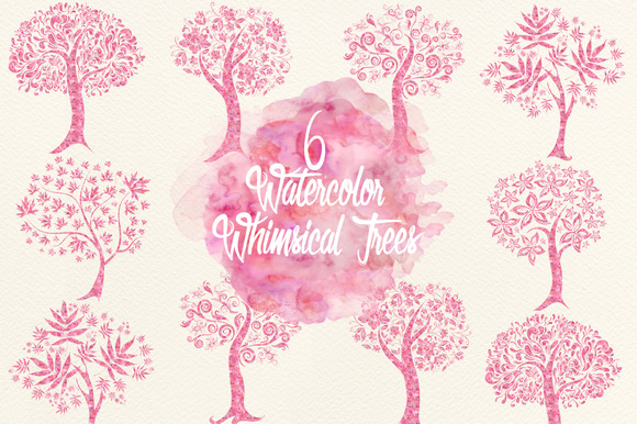 Watercolor Fuchsia Whimsical Trees