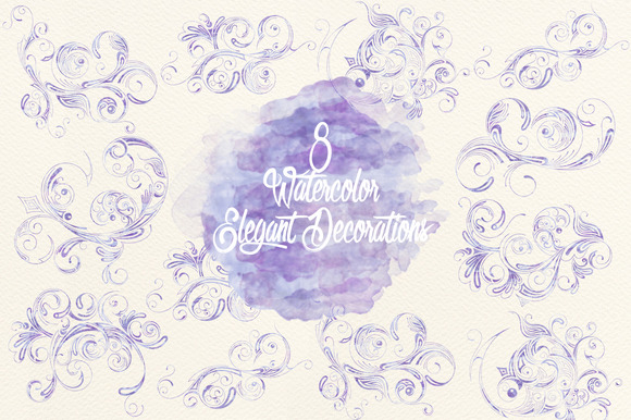 Watercolor Lavender Elegant Decor