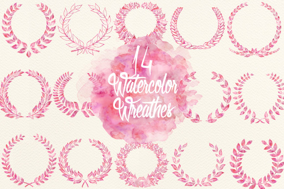 Watercolor Fuchsia Wreathes