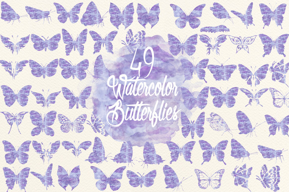 Watercolor Lavender Butterflies
