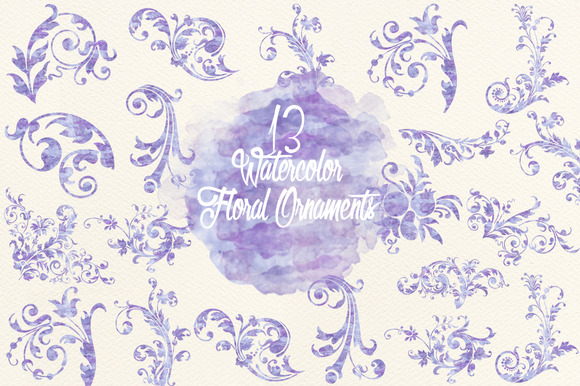 Watercolor Lavender Floral Ornaments