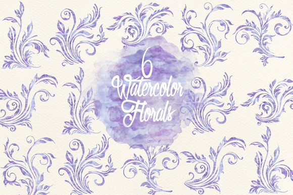 Watercolor Lavender Swirls