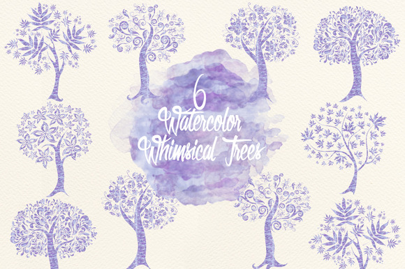 Watercolor Whimsical Trees