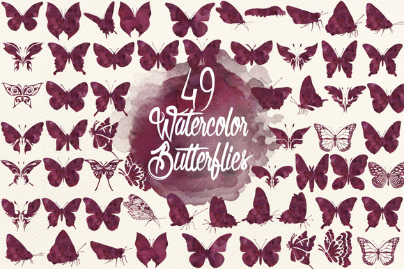 Watercolor Deep Maroon Butterflies