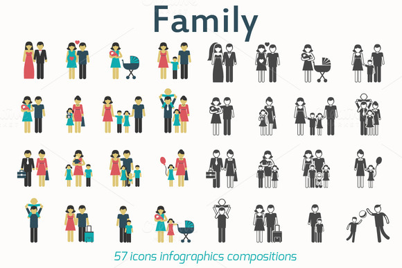 Family Flat Icons And Web Elements