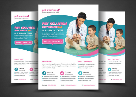 Pet Solution Flyer Print Template
