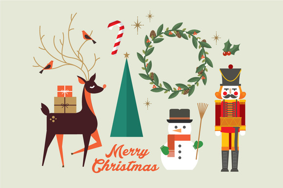 Christmas Elements Greeting Vector