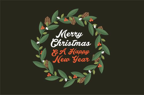 Christmas Wreath Greeting Vector