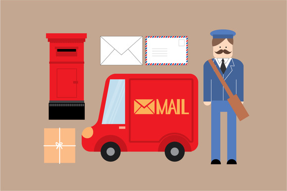 Postman Mail Vector Illustration