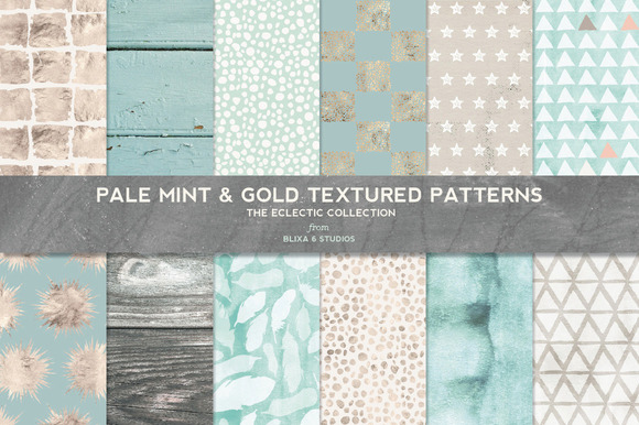 Pale Mint Gold Textured Patterns