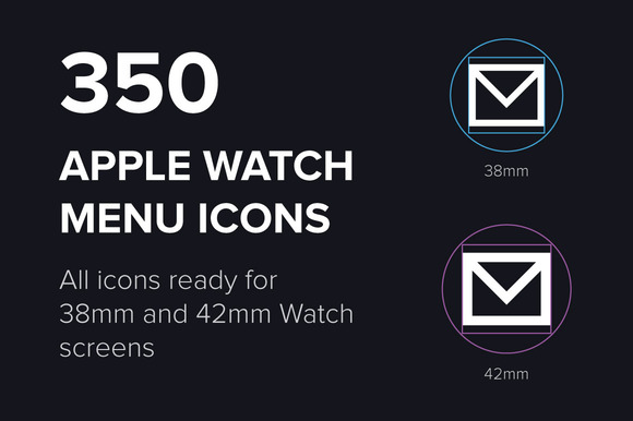 350 Apple Watch Menu Vector Icons