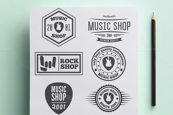 Set Of Vintage Logo For Music Shop