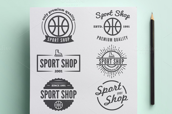 Set Of Vintage Logo For Sport Shop