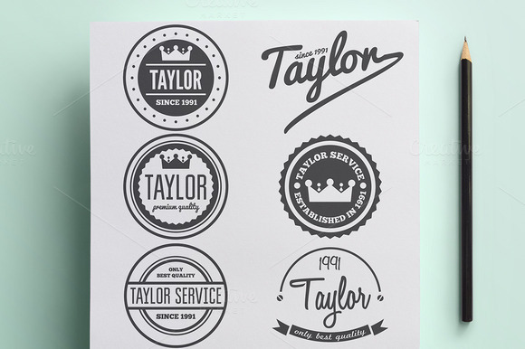 Set Of Vintage Logo For Taylor