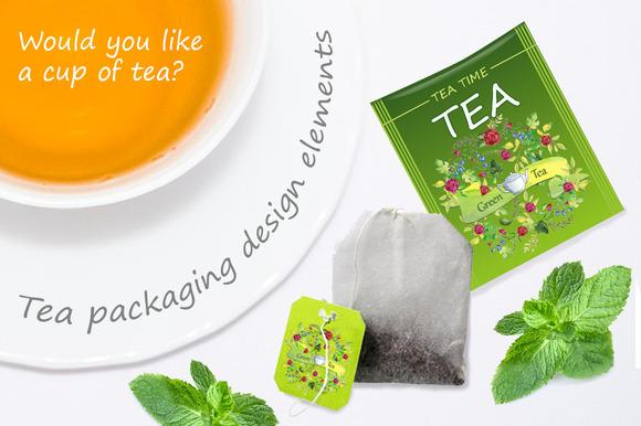 Tea Packaging Watercolor Elements