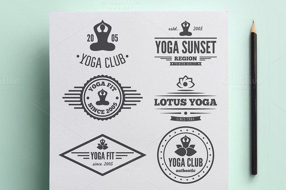 Set Of Vintage Logo For Yoga Club