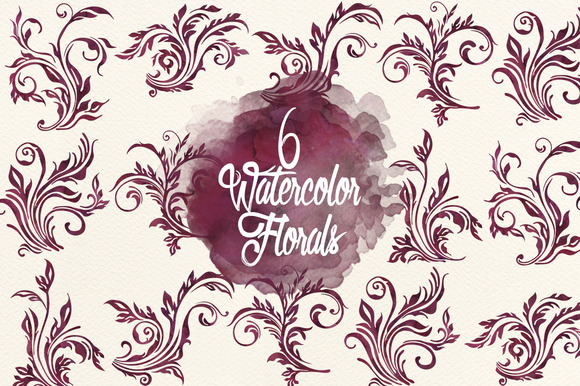 Watercolor Deep Maroon Florals