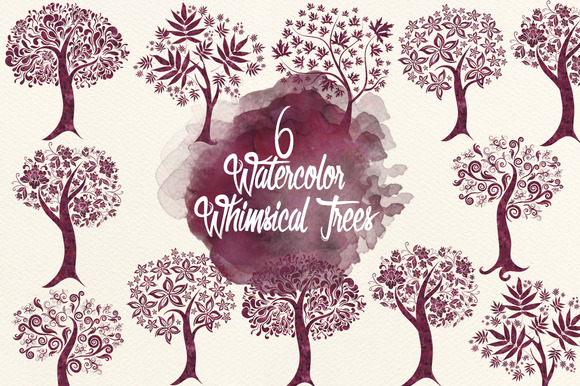 Maroon Watercolor Whimsical Trees