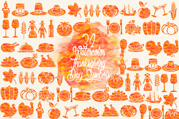 Watercolor Thanksgiving Day Symbols