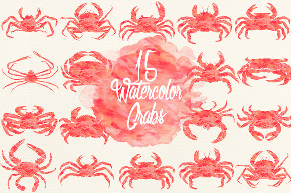 Peach Watercolor Crabs
