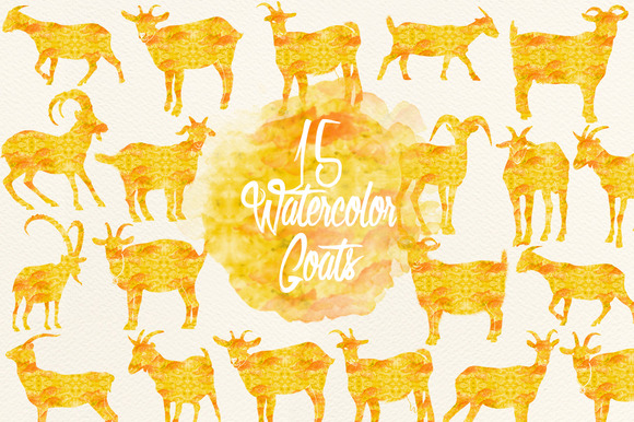 Yellow Watercolor Goats