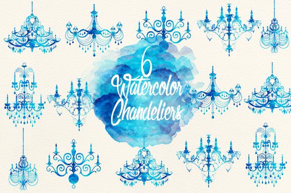 Emerald Blue Watercolor Chandeliers