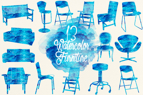 Emerald Blue Watercolor Furniture