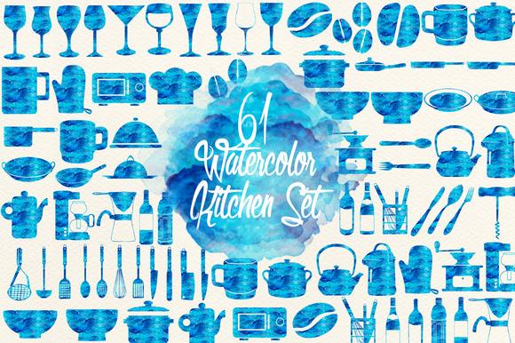 Emerald Blue Watercolor Kitchen Set