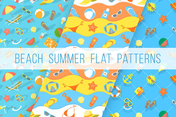 Flat Summer Vacation Beach Patterns
