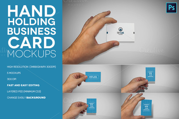 Hand Holding Business Card Mockups