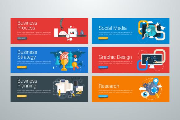 Set Of Flat Design Web Banners