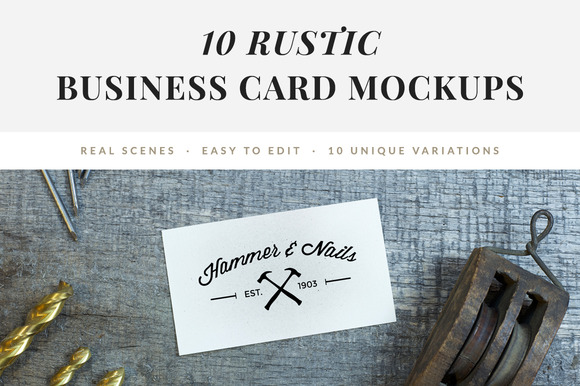 10 Rustic Business Card Mockups