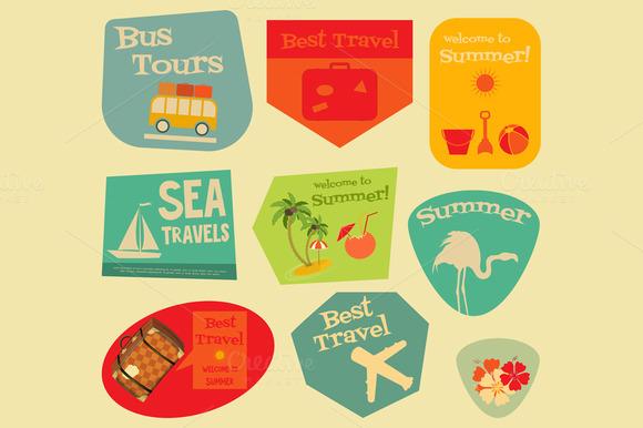 Flat Travel Stickers Set